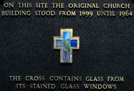 Plaque - Stained Glass Cross - Market Street Entrance - Judy Hunter