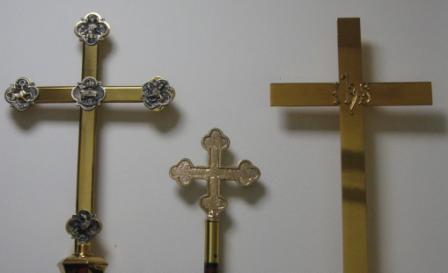 Processional Crosses and Old Banner Stand Cross - Judy Hunter
